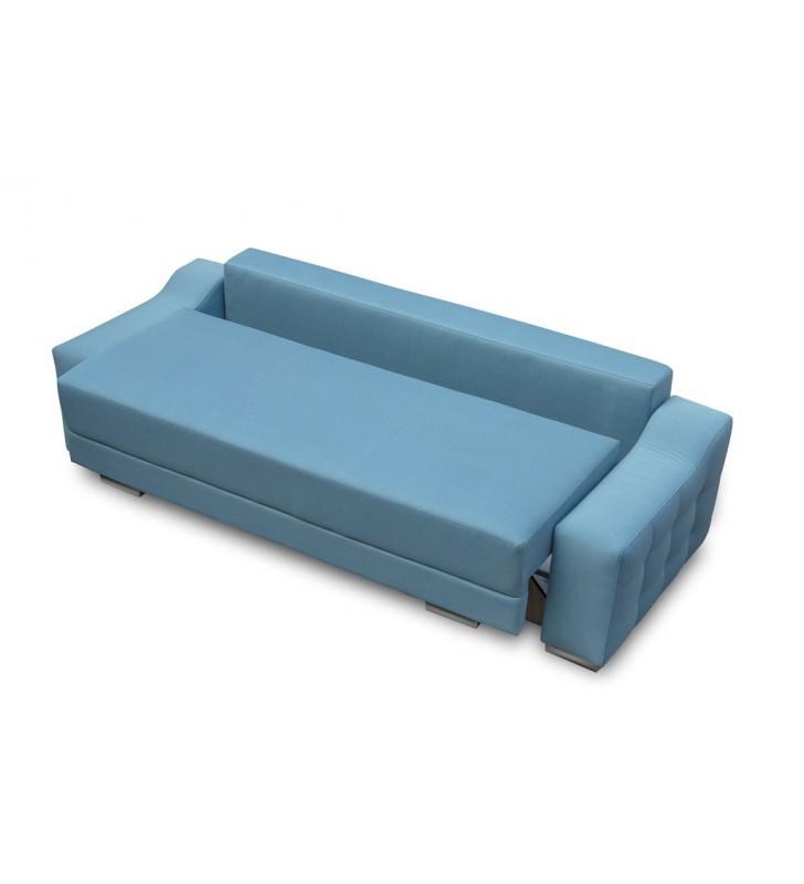 Turkusowa, rozkładana sofa z pojemnikiem na pościel Cypis inari87