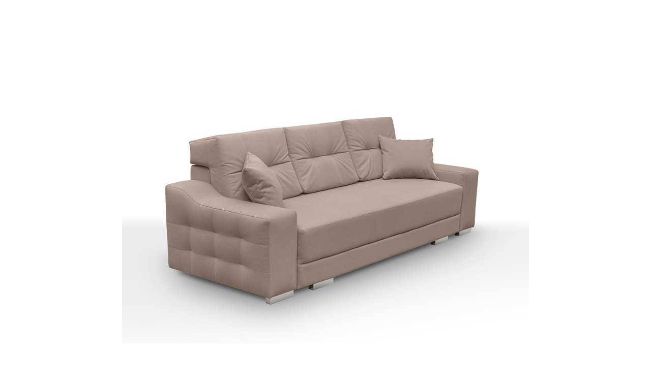 Różowa, rozkładana sofa z pojemnikiem na pościel Cypis novel03