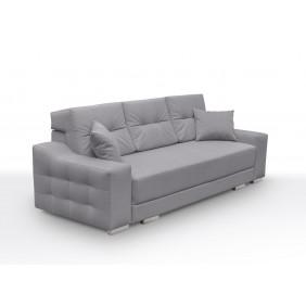 Szara, rozkładana sofa z pojemnikiem na pościel KS13n11
