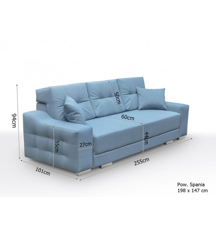 Szara, rozkładana sofa z pojemnikiem na pościel Cypis novel11