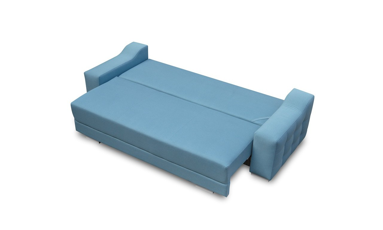 Błękitna, rozkładana sofa z pojemnikiem na pościel Cypis novel09