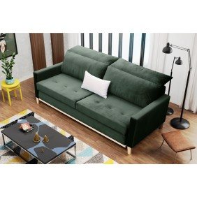 Zielona, rozkładana sofa z pojemnikiem na pościel Azja