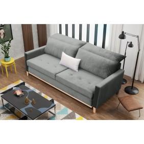 Szara, rozkładana sofa z pojemnikiem na pościel KS14r91