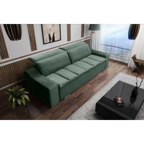 Zielona, rozkładana sofa z pojemnikiem na pościel Cezar