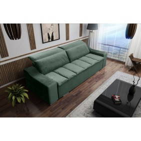 Zielona, rozkładana sofa z pojemnikiem na pościel KS15r38