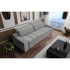 Szara, rozkładana sofa z pojemnikiem na pościel Cezar