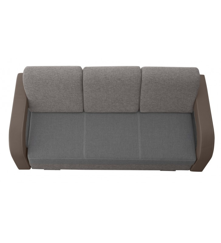 Szara, rozkładana sofa z pojemnikiem na pościel Laura soft29