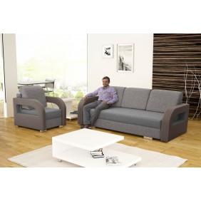 Szara, rozkładana sofa z pojemnikiem na pościel KS18i90s24b23