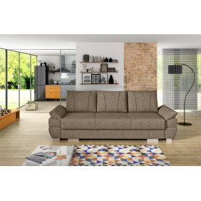 Beżowa, rozkładana sofa z pojemnikiem na pościel KS19i23