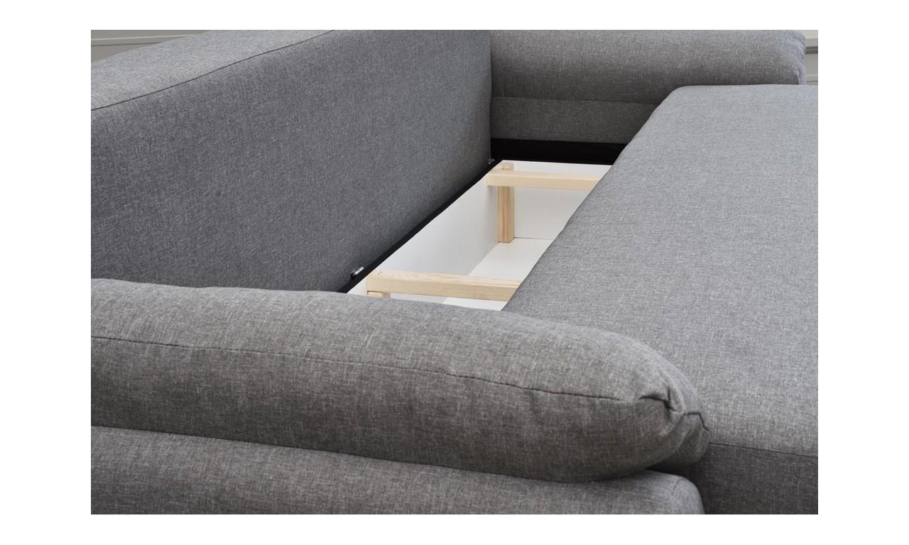 Beżowa, rozkładana sofa z pojemnikiem na pościel Benita inari23