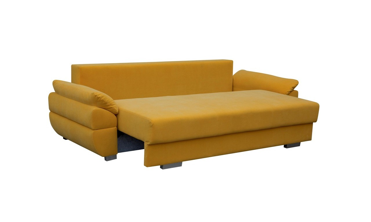 Szara, rozkładana sofa z pojemnikiem na pościel Benita inari91