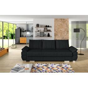 Czarna, rozkładana sofa z pojemnikiem na pościel KS19i100