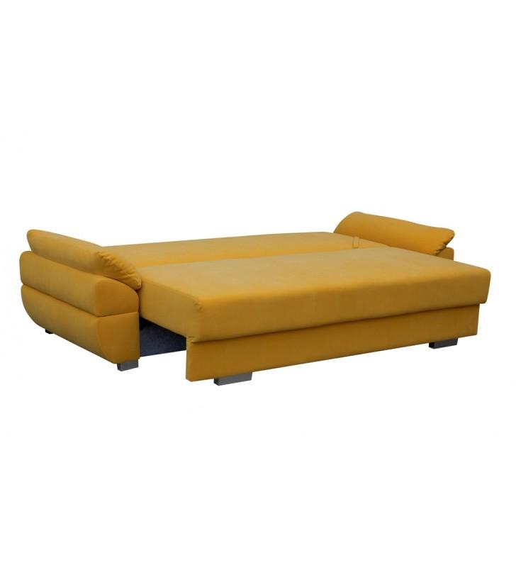 Szara, rozkładana sofa z pojemnikiem na pościel Benita inari94