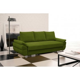 Zielona, rozkładana sofa z pojemnikiem na pościel KS19p13