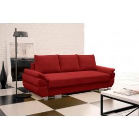 Czerwona, rozkładana sofa z pojemnikiem na pościel KS19p14