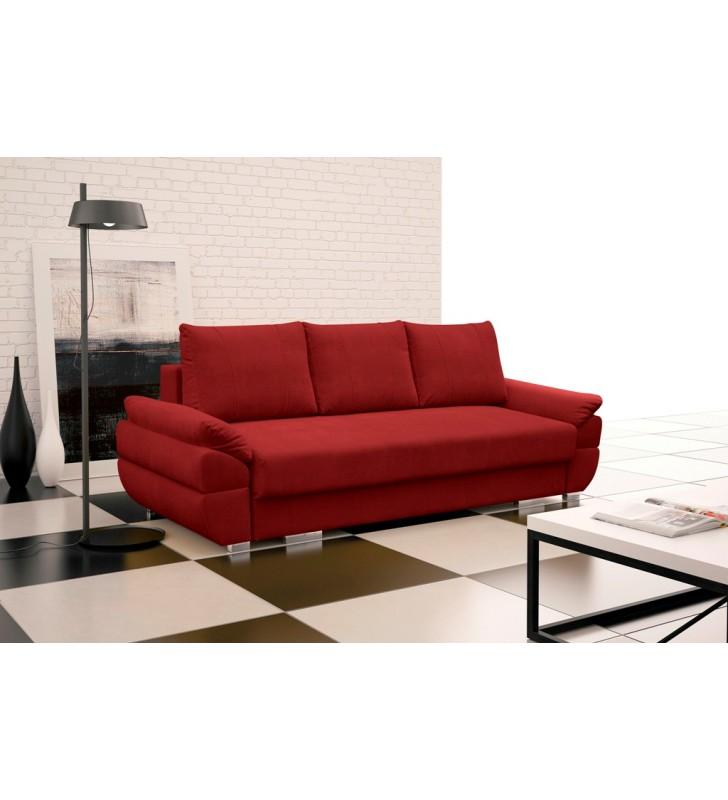 Czerwona, rozkładana sofa z pojemnikiem na pościel Benita penta14