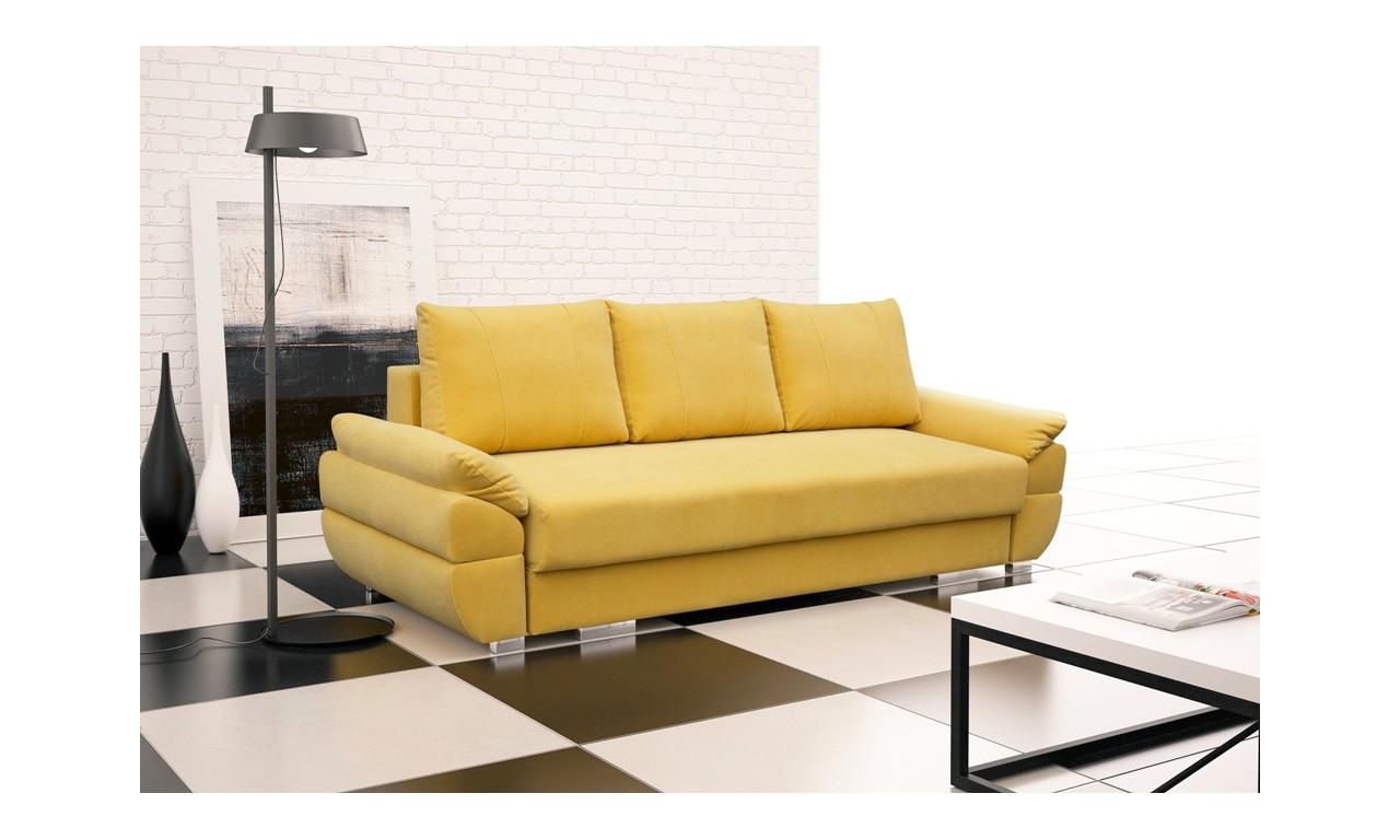Zółta, rozkładana sofa z pojemnikiem na pościel Benita penta12