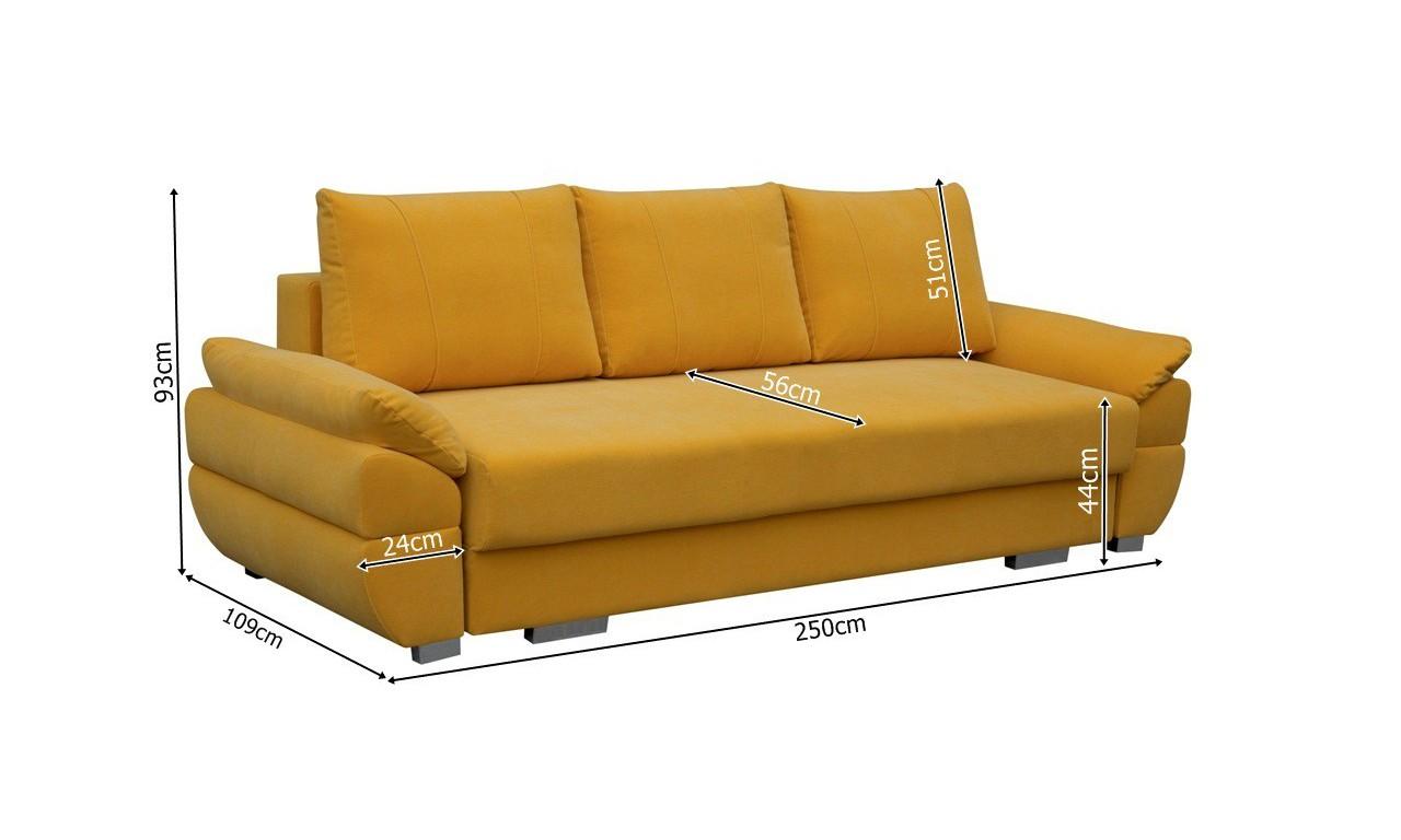 Brązowa, rozkładana sofa z pojemnikiem na pościel Benita penta08