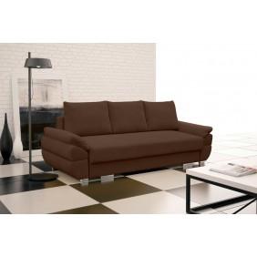 Brązowa, rozkładana sofa z pojemnikiem na pościel KS19p09