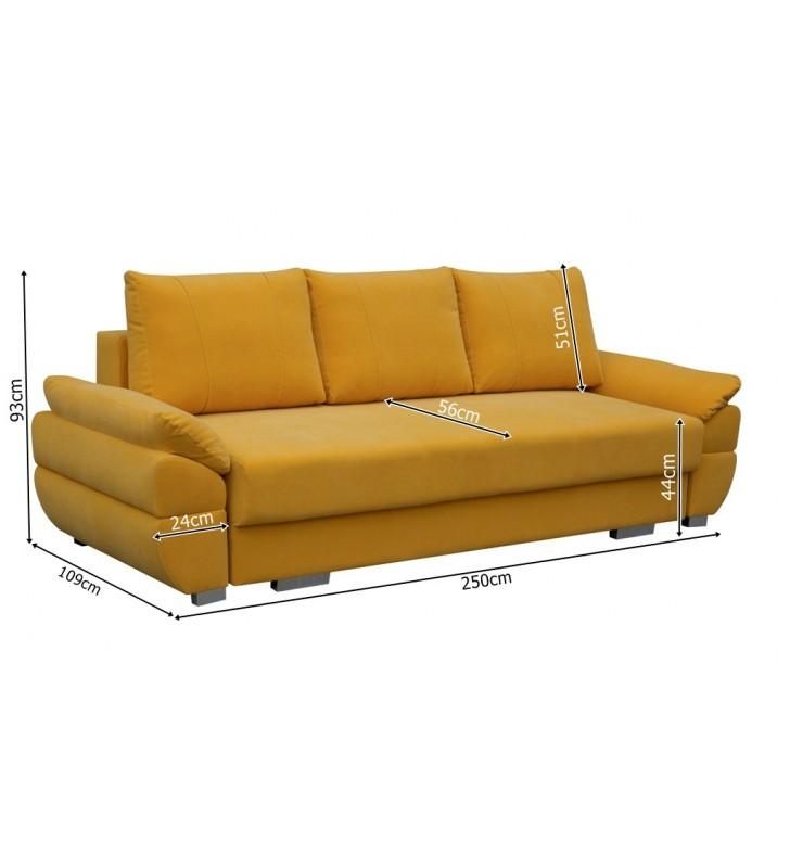 Brązowa, rozkładana sofa z pojemnikiem na pościel Benita penta09