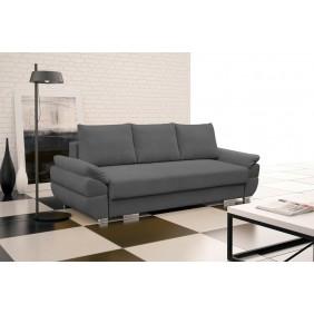 Szara, rozkładana sofa z pojemnikiem na pościel KS19p17