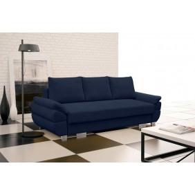 Niebieska, rozkładana sofa z pojemnikiem na pościel KS19p15