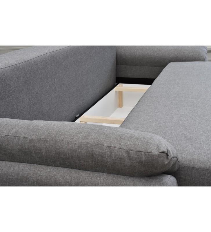 Czarna, rozkładana sofa z pojemnikiem na pościel Benita penta18