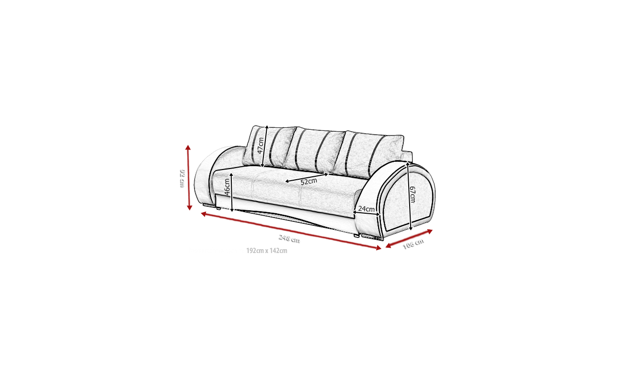 Jasnoszara, rozkładana sofa z pojemnikiem na pościel Cher