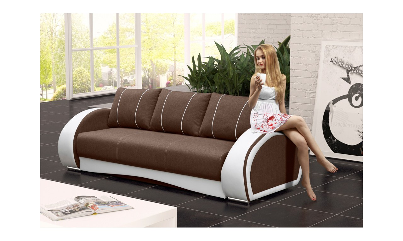 Brązowa, rozkładana sofa z pojemnikiem na pościel Cher