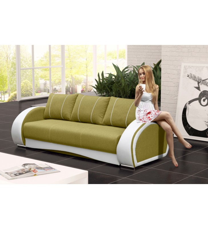 Zielona, rozkładana sofa z pojemnikiem na pościel Cher