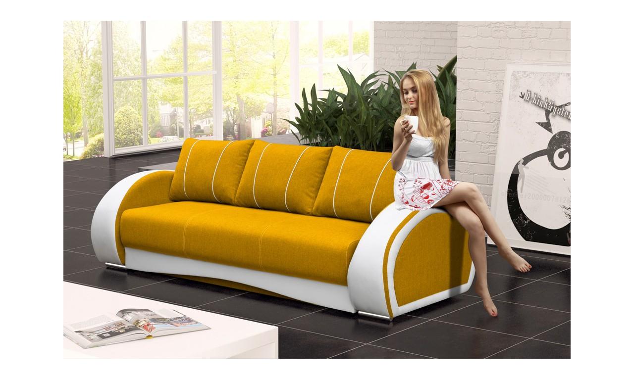 Żołta, rozkładana sofa z pojemnikiem na pościel Cher