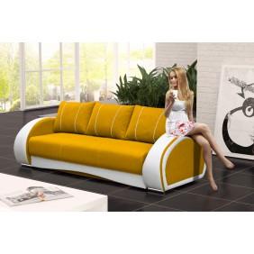 Żołta, rozkładana sofa z pojemnikiem na pościel KS20i41s17