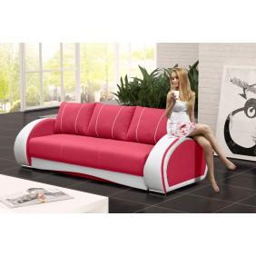 Różowa, rozkładana sofa z pojemnikiem na pościel Cher