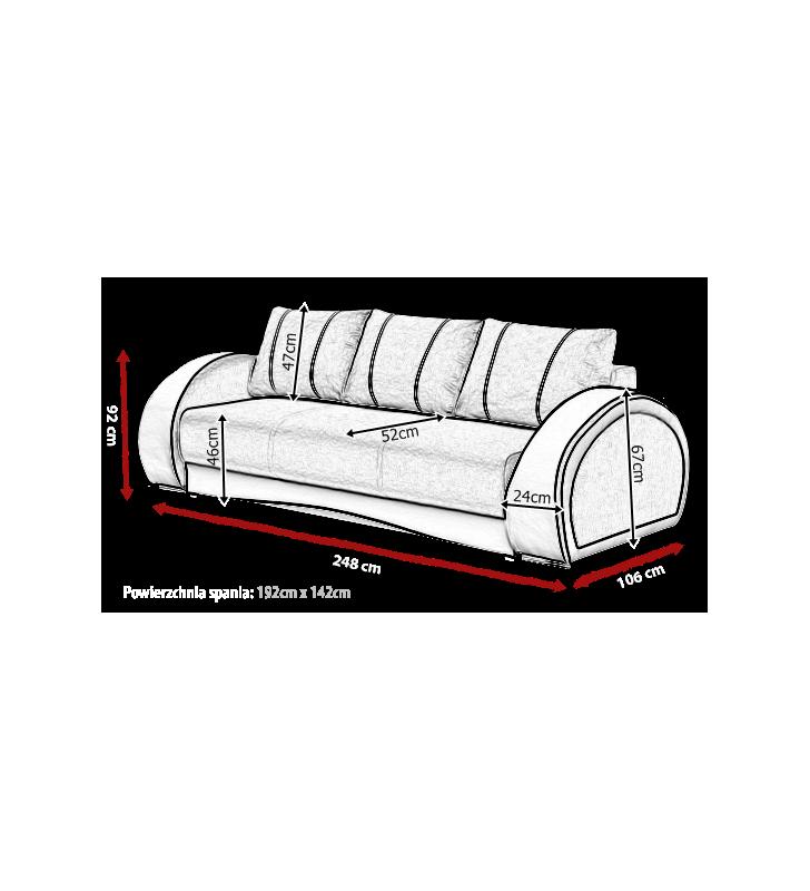 Szara, rozkładana sofa z pojemnikiem na pościel Cher