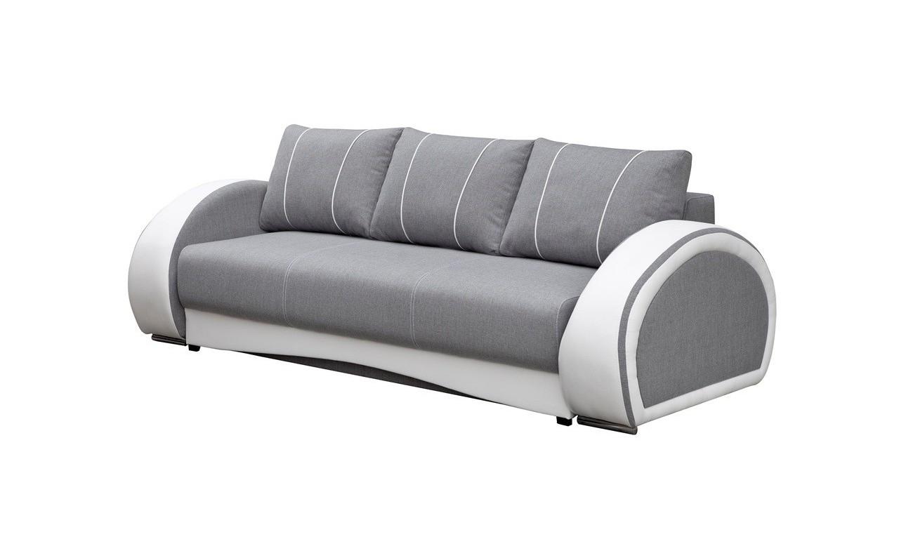 Czarna, rozkładana sofa z pojemnikiem na pościel Cher
