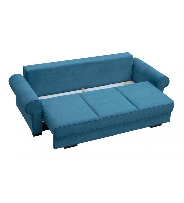 Szara, rozkładana sofa z pojemnikiem na pościel Bukiet inari94