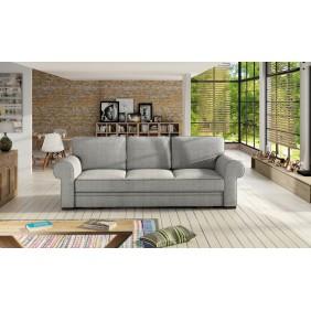 Szara, rozkładana sofa z pojemnikiem na pościel KS21m83