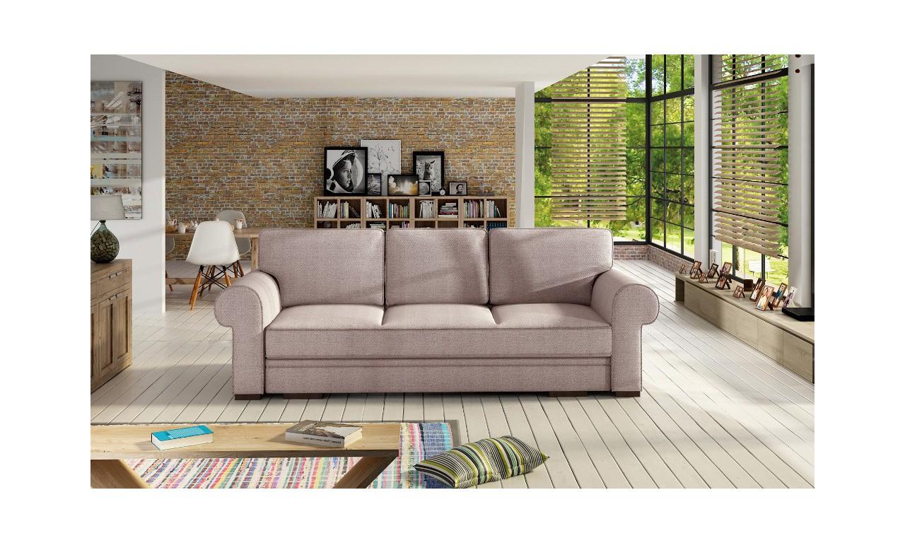 Różowa, rozkładana sofa z pojemnikiem na pościel Bukiet