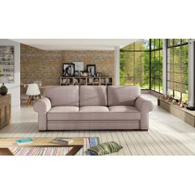 Różowa, rozkładana sofa z pojemnikiem na pościel KS21m61