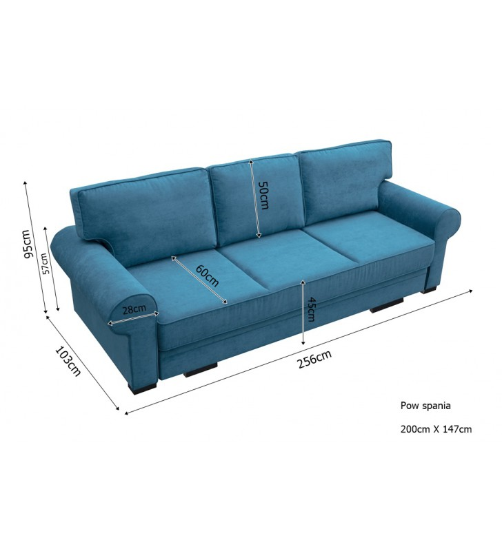 Zielona, rozkładana sofa z pojemnikiem na pościel Bukiet