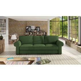 Zielona, rozkładana sofa z pojemnikiem na pościel KS21m37