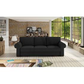 Czarna, rozkładana sofa z pojemnikiem na pościel Bukiet
