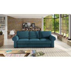 Turkusowa, rozkładana sofa z pojemnikiem na pościel KS21m85