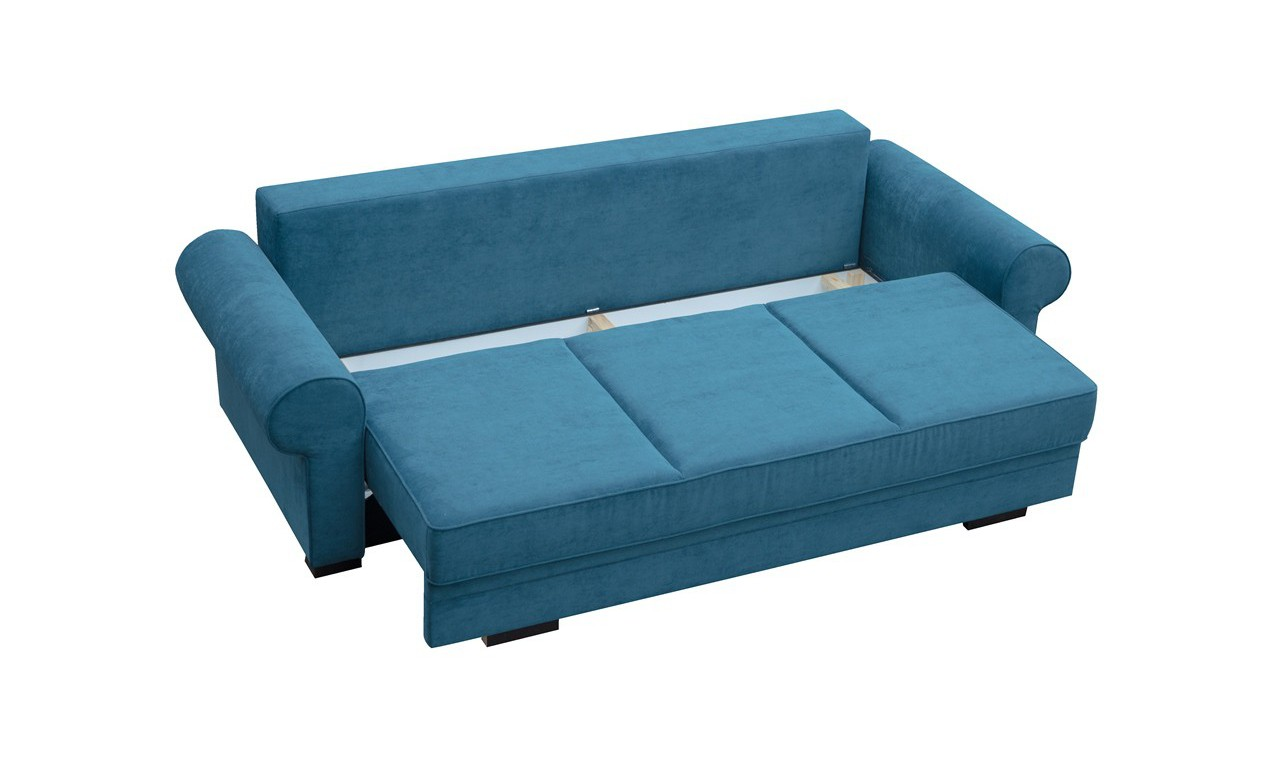 Turkusowa, rozkładana sofa z pojemnikiem na pościel Bukiet