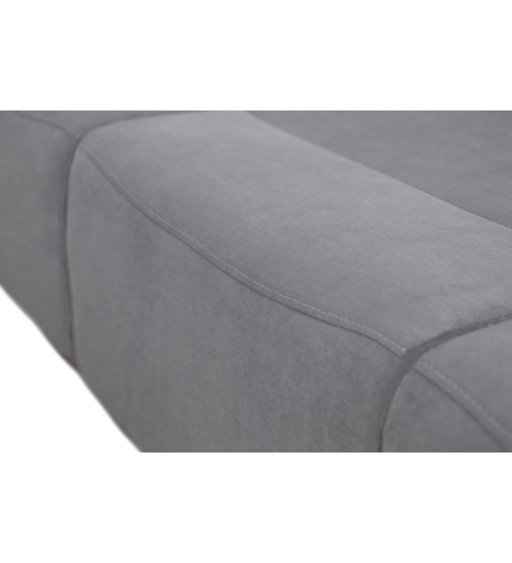 Szara, rozkładana sofa z pojemnikiem na pościel oraz z pufą Aliss