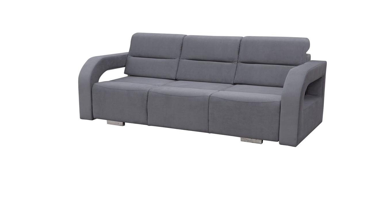 Biała, rozkładana sofa z pojemnikiem na pościel oraz z pufą Aliss