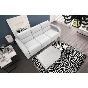 Biała, rozkładana sofa z pojemnikiem na pościel oraz z pufą KS23c2301