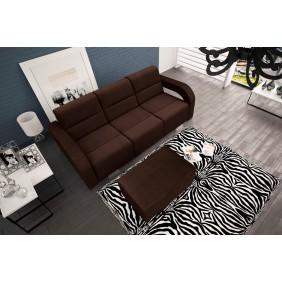 Brązowa, rozkładana sofa z pojemnikiem na pościel oraz z pufą KS23c2307