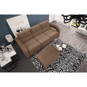 Brązowa, rozkładana sofa z pojemnikiem na pościel oraz z pufą Aliss casablanca2305