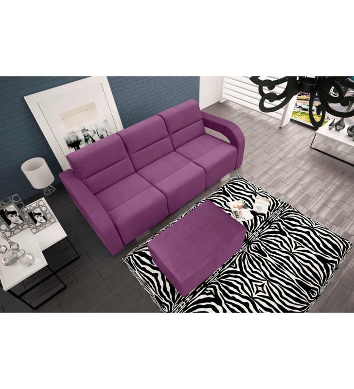 Fioletowa, rozkładana sofa z pojemnikiem na pościel oraz z pufą Aliss